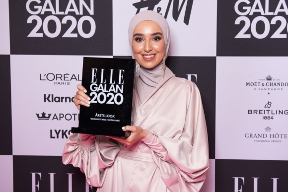Imane at the Elle Gala 2020 with award